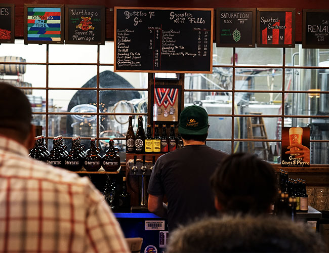 the taproom at Mystic Brewery, one of the best breweries in Boston