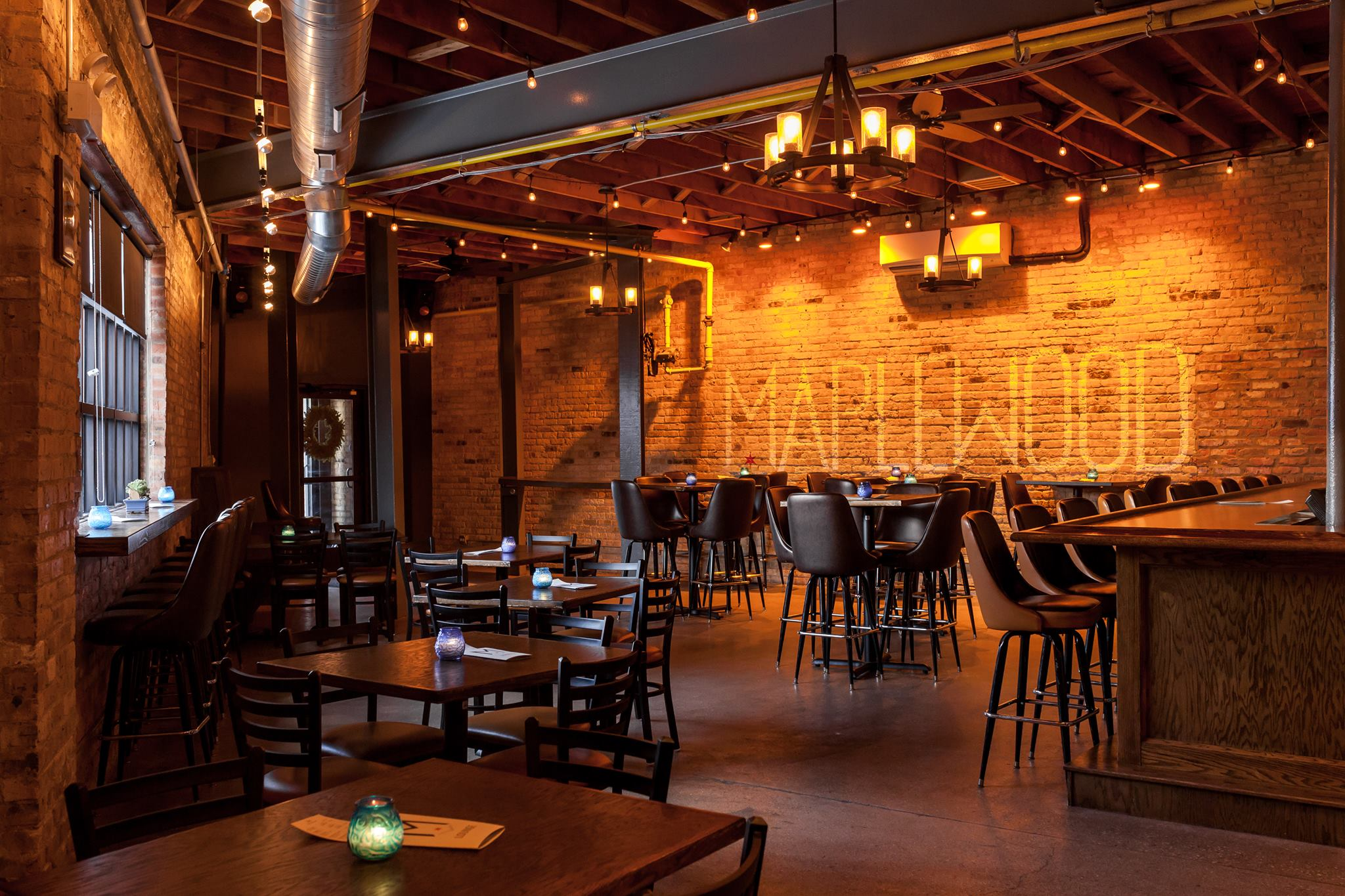 the taproom at Maplewood Brewery and Distillery, one of the best breweries in Chicago